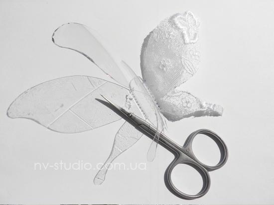 Делаем бабочку из кружев и бисера.  Мастеркласс как сделать бабочку.