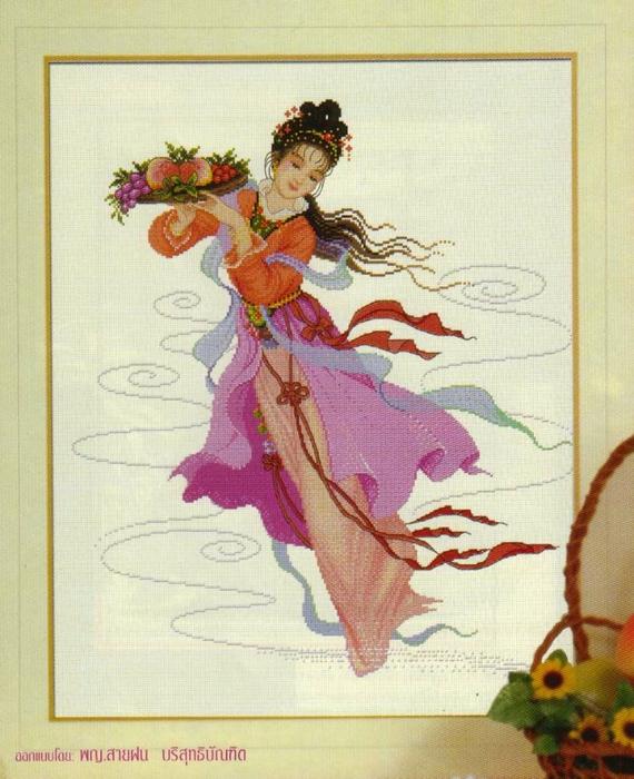 Схема вышивания крестом - Китайское Благословение Дня рождения.