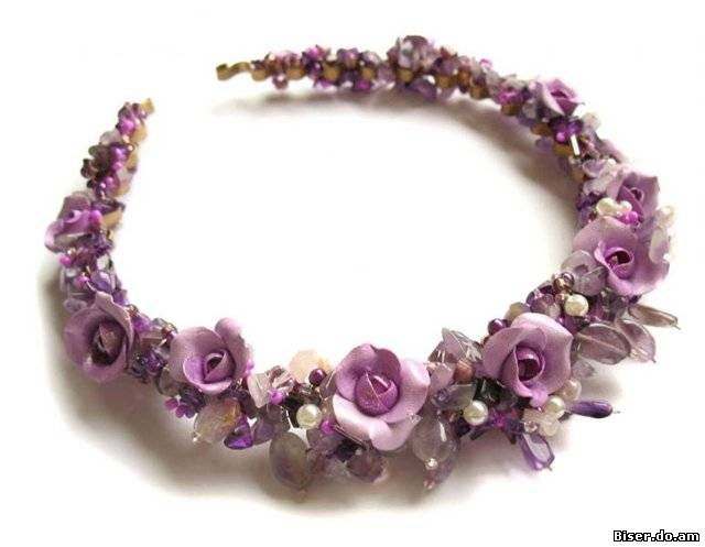 Украшения ручной работы.  Ярмарка Мастеров - ручная работа Диадема с фиолетовыми розами.  Handmade.
