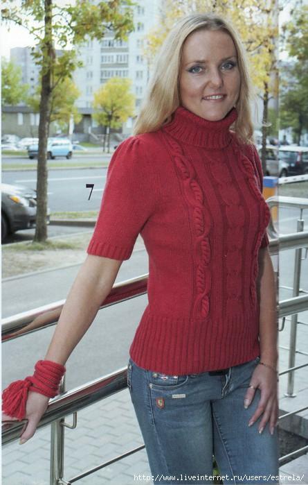 Вязание спицами пуловеров с коротким рукавом