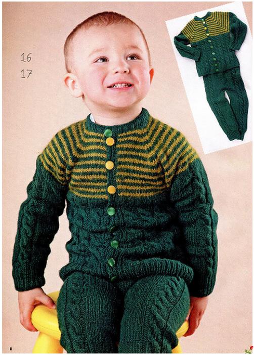 Вязанные костюмчики на спицах для мальчиков