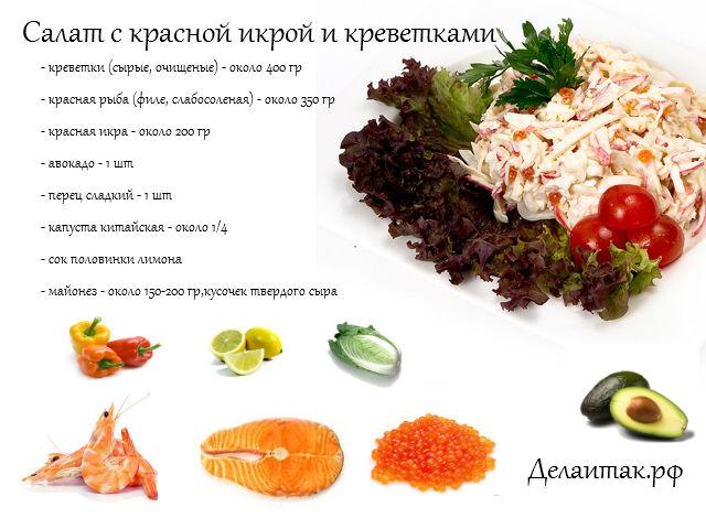 Салат с креветками и красной икрой царский рецепт с