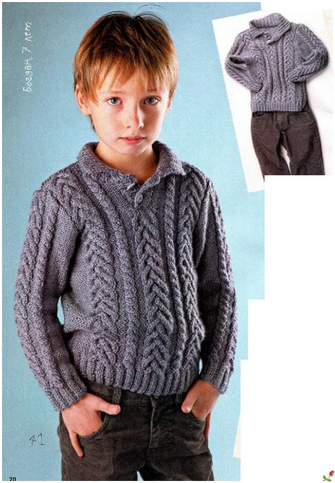 Вязание спицами кофта на мальчика 7 лет 69
