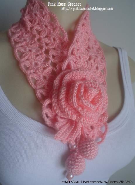 Golinha Flor Surprise - Crochet Scarflette - Pink Rose . (462x631, 100Kb)
