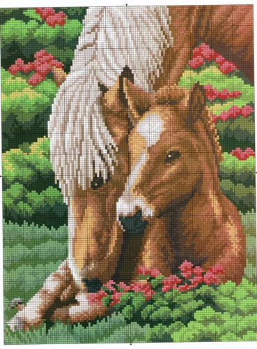 Вышивка крестом, схемы.  Лошадки.