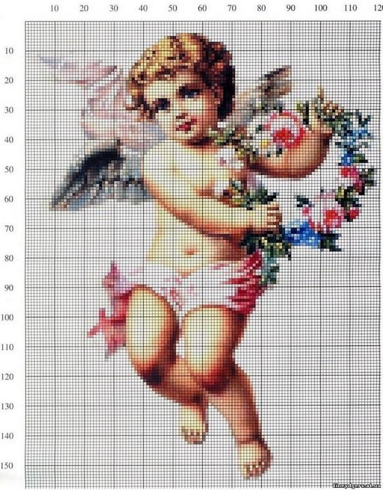 (十字绣图纸--可爱天使)Ангелы