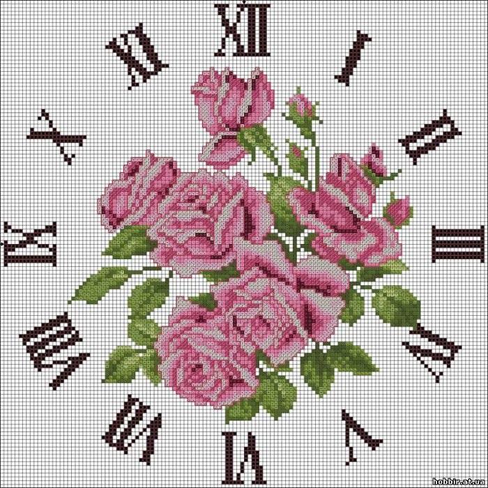 Вышивка крест схема часы