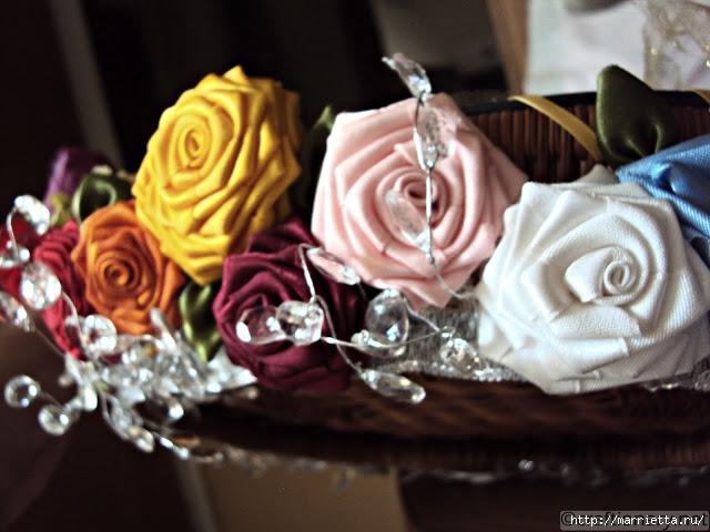 Розы из ленты своими руками.