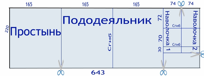 Раскрой постельного белья (700x260, 62Kb)