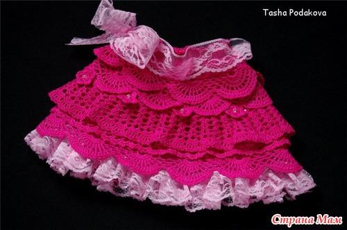 Малиновая юбочка с рюшами для девочки