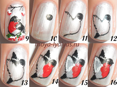 Роспись на ногтях к новому году