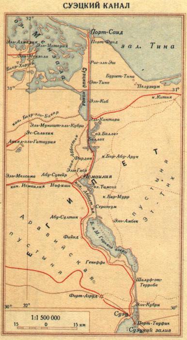Схема Панамского канала.