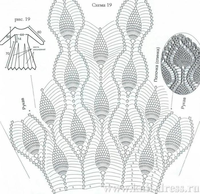 Вязание крючком схема узора ананасы.