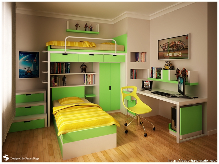 yellow-green-boys-room-with-bunk-beds-and-wooden-floor-Semsa-teen-room-design (700x525, 258Kb)