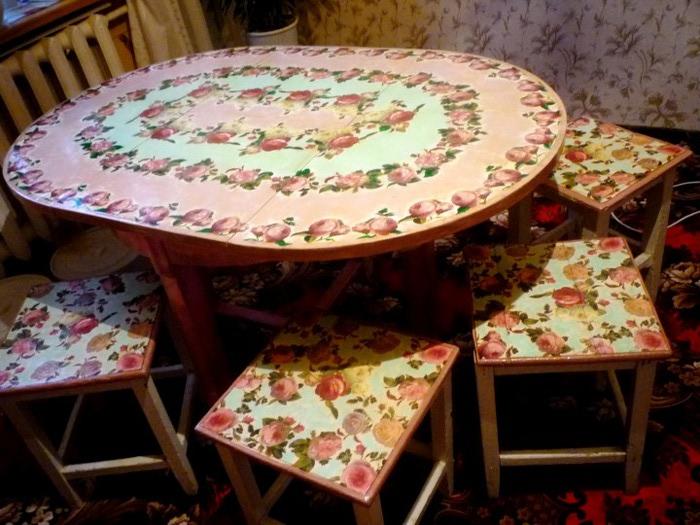 Декор старого кухонного стола своими руками