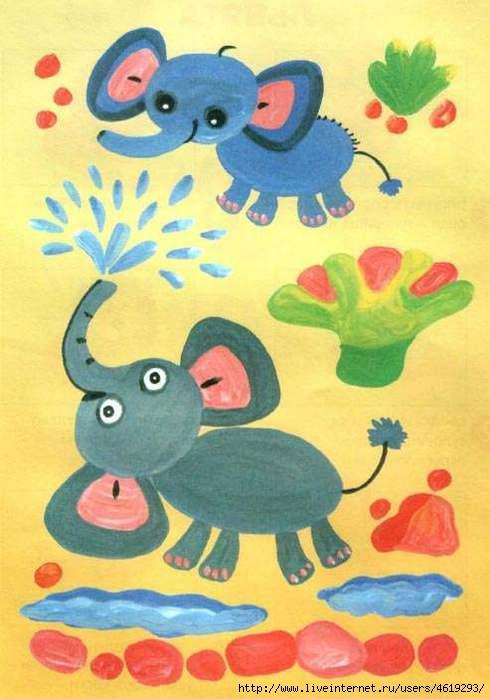 Учимся рисовать животных.  Рисуем пальчиками.  Холодная сказка.