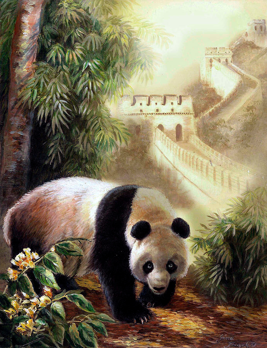 Panda with the Great Wall of China.