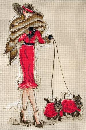 Набор для вышивания Great Scotts II (Дама в красном с двумя чёрными терьерами).  Панно.
