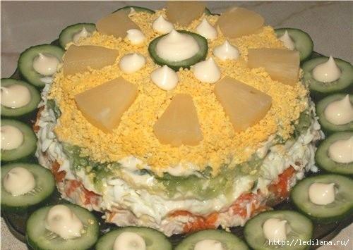 Салат с курицей, ананасом и огурцом Нежное облако (500x355, 97Kb)