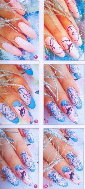 Ногти шеллак красного дизайна