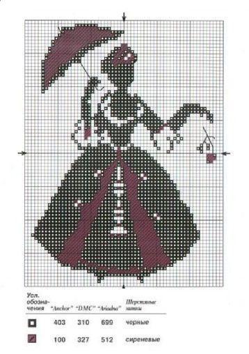 Силуэт монохромная вышивка крестом схемы