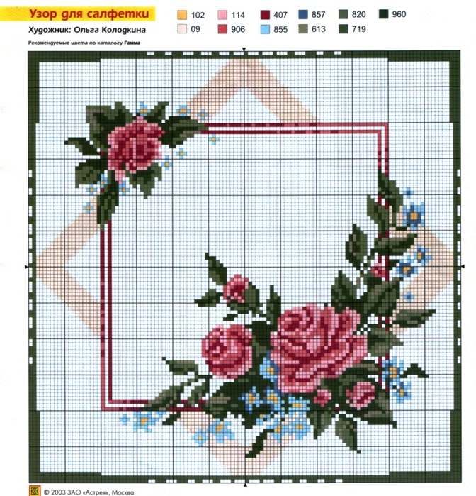 Узоры из роз вышивки крестом