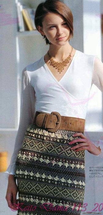 Стильная вязаная юбка из остатков пряжи 1 (336x700, 106Kb)