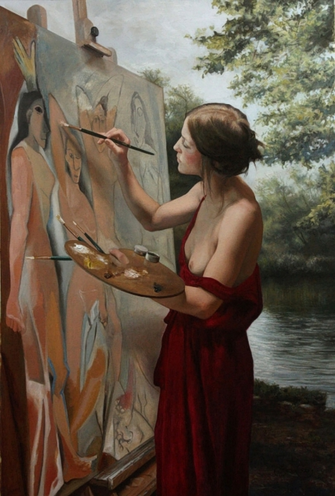 En Plain Air Painting ~ Cesar Santos (474x700, 265Kb)