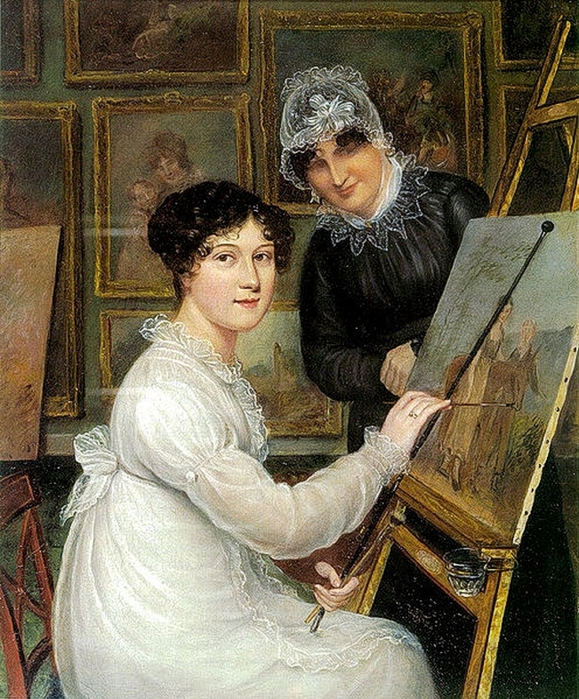 Artist Rolinda Sharples wears her hair in a mass of curls; her mother wears a sheer indoor cap, c. 1820. (579x700, 395Kb)
