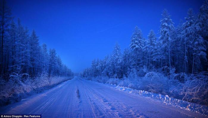 9. Заснеженная дорога к Оймякону. Чтобы добраться от Якутска до посёлка, нужно преодолеть почти 1000 километров (700x396, 48Kb)