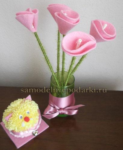 Цветы из фетра своими руками для букета