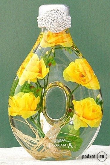 Цветы в бутылке своими руками