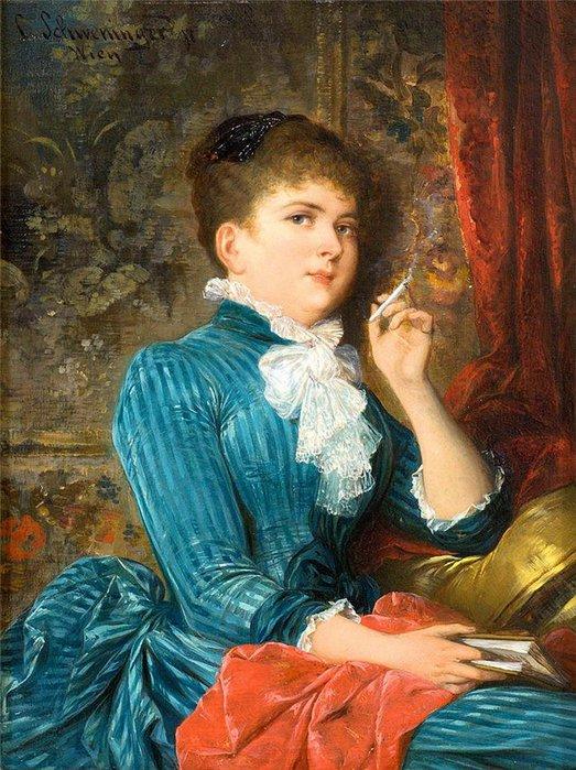 Carl Schweninger - Lady with a Cigarette (523x700, 115Kb)