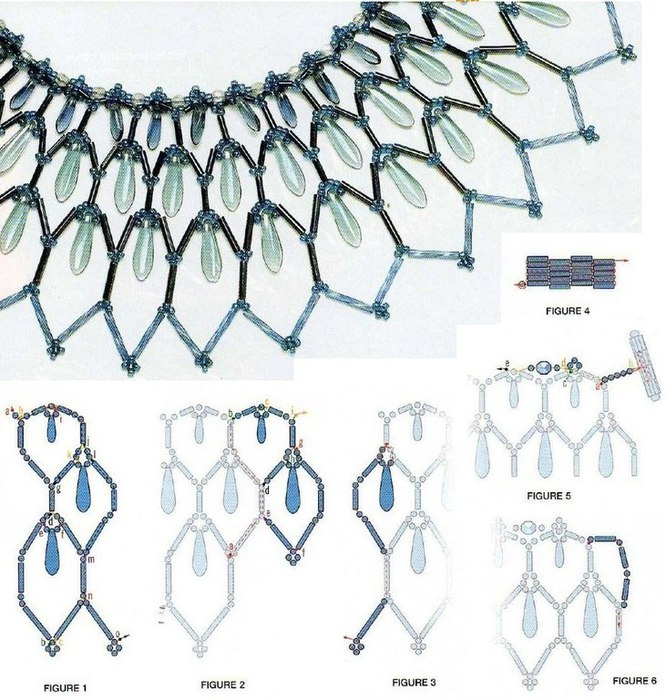 Вам понадобятся каплевидные бусины, голубой бисер и голубой стеклярус.  С помощью подробных схем, вы легко справитесь...