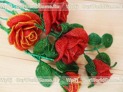 Розы из бисера мастер класс.