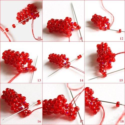 Фуксии из бисера схема плетения