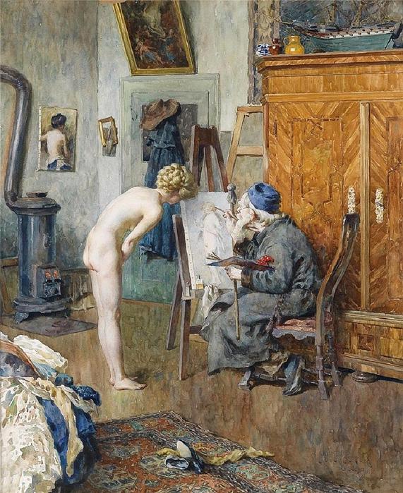 Im Atelier (In the Studio). Heinrich Rettig (German, 1859–1921). (571x700, 381Kb)