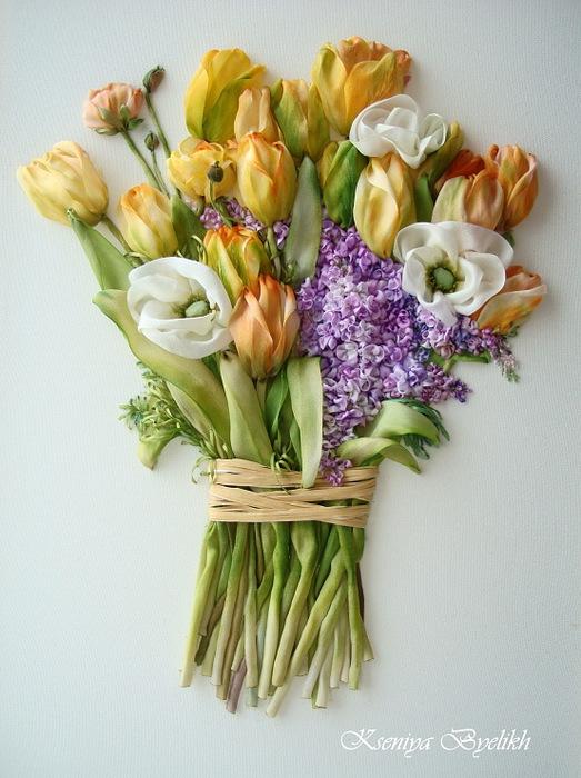 Вышивка тюльпанов из атласных лент