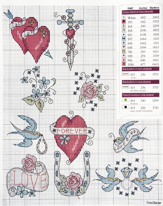 Схемы для вышивки день святого валентина