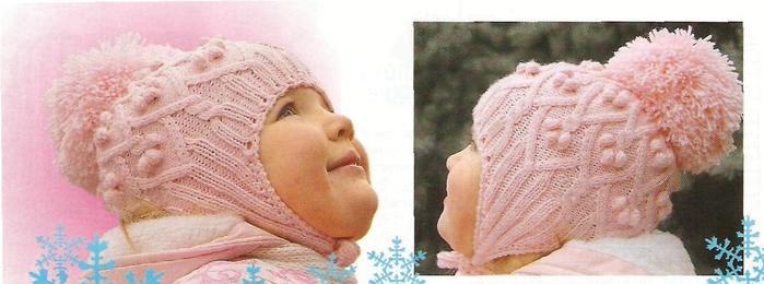 Вязание спицами розовая шапочка для девочек