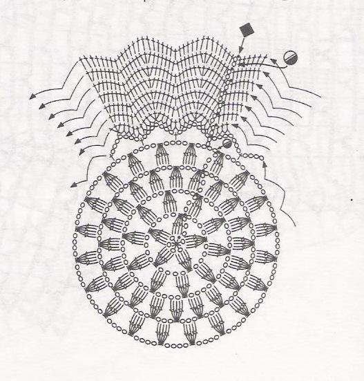 вязаная подставка подсолнух - схема вязания.