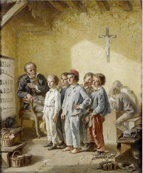 Francois-Louis Lanfant (French, 1814-1892) «A lesson in mathematics» (577x700, 70Kb)