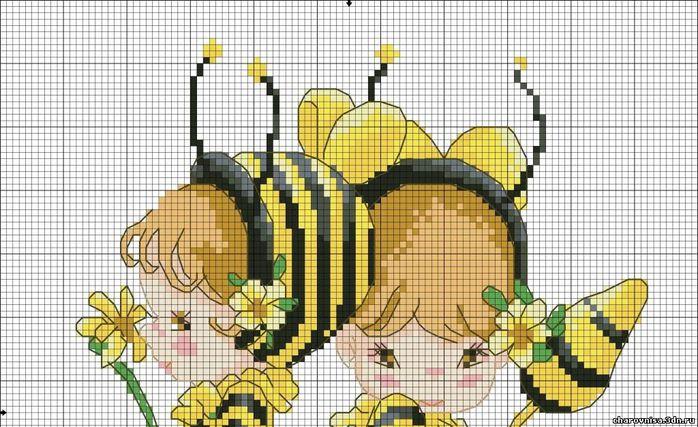 Вышивка крестиком схемы пчелок 36