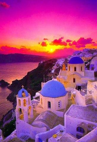 Закат в Santorini. Греция (327x480, 44Kb)