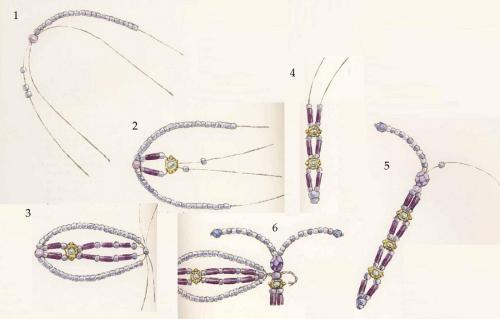 Далее плетем тело стрекозы.  Отрезаем леску, одеваем бисеринку, складываем концы и... Как сделать поделку из бисера...