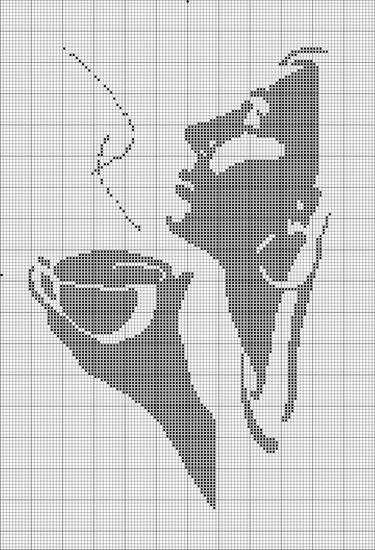 Схемы вышивки крестом чашки монохром