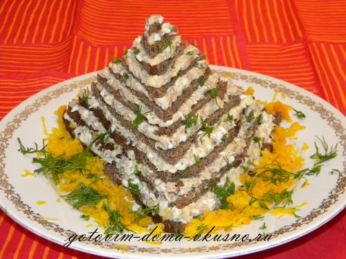 Салаты в виде торта рецепт с
