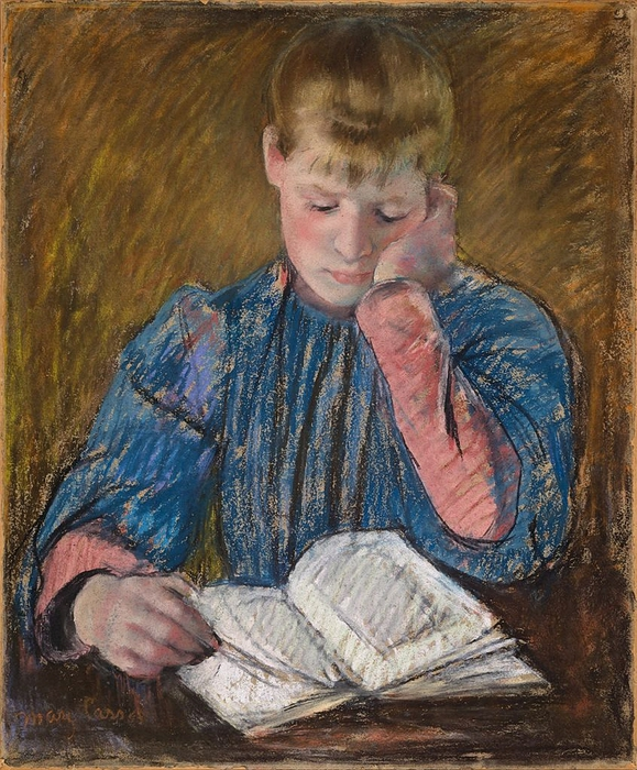 Young Girl Reading (Jeune Fille Lisant), c. 1894. Mary Cassatt (American, Impressionism, 1845-1926). (579x700, 383Kb)