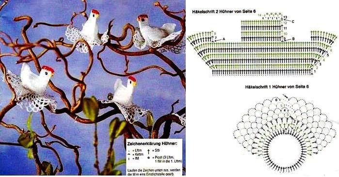 Пасхальные зайчики и пасхальные курочки - схема вязания + фото.