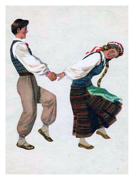 Раскраска народный костюм россия